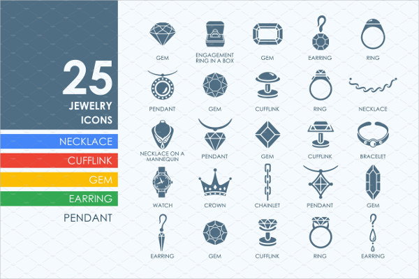 Simple Set of Jewelry Vector Icons