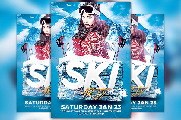 Ski Party Flyer Template