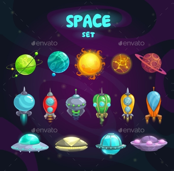 Space Cartoon Icons Pack