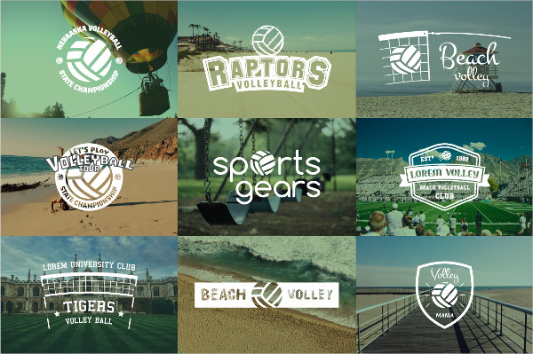 Sports Volleyball Badges and Logos