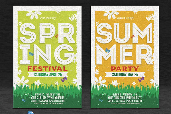 Summer & Spring Holiday Party Flyers