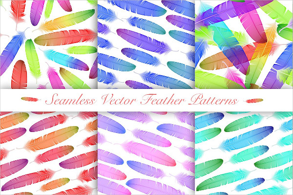 Vector Colorful Feathers Seamless Patterns