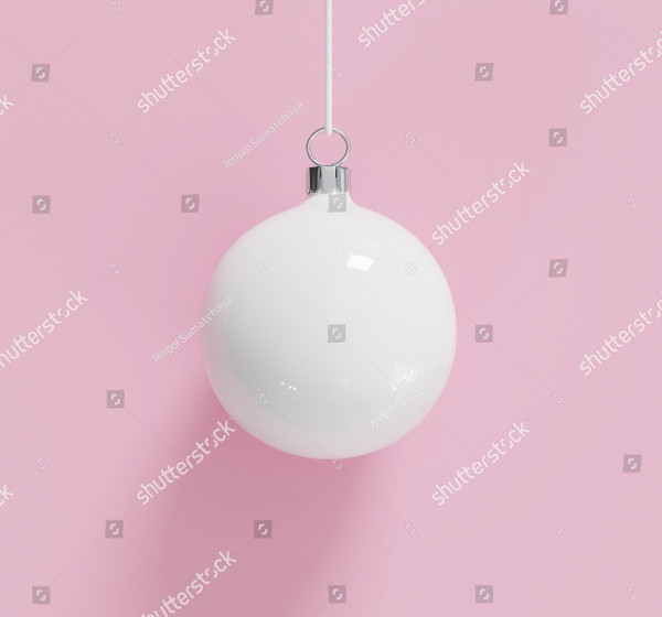 White Christmas Ball Ornaments on White Background