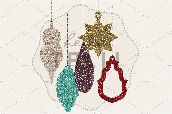 Xmas Glitter Ornaments Design
