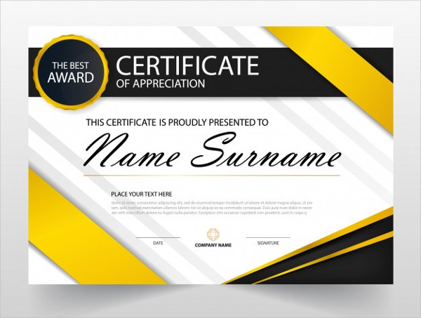 Yellow and Black Gift Certificate Free Download