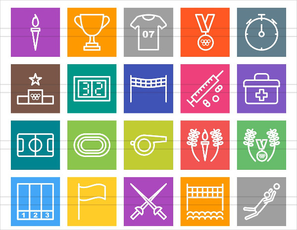 50 Olympics Line Multicolor Icons