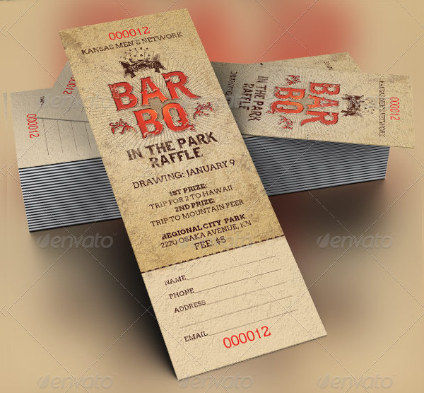 Barbeque Raffle Tickets Template Design