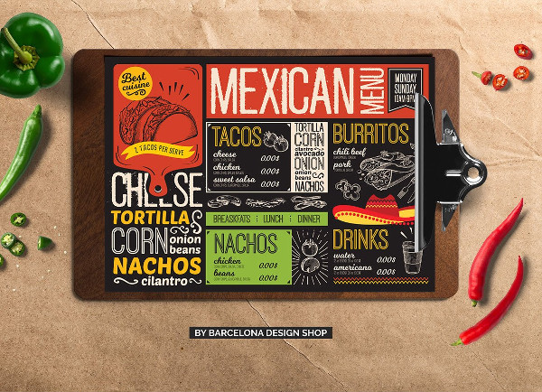 Best delicious Mexican Food Menu Template