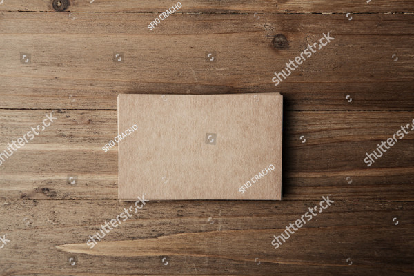 Blank Craft Business Card on Wooden Background