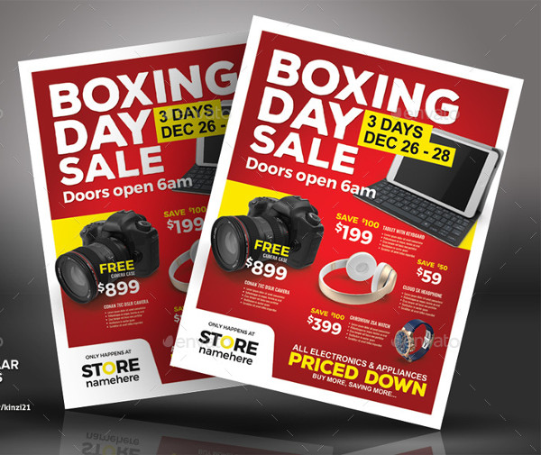 Fully Editable Boxing Day Sale Flyer Templates