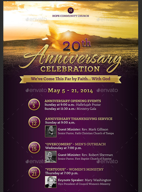Church Anniversary Celebration Poster Template