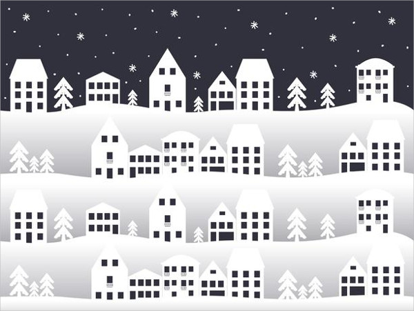 City In Winter Vector Background Free