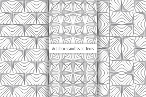 Clean Set of Art Deco Seamless Patterns