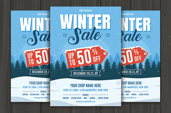 Clean Winter Sale Flyer Template