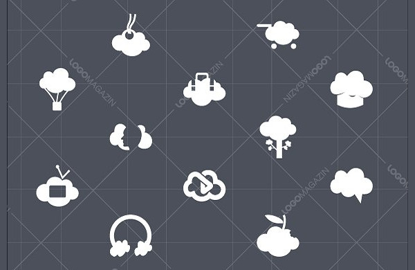 Cloud Icon Set with Inner Shadow