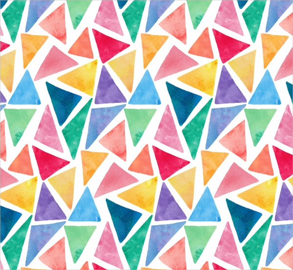 Colorful Watercolor Triangles Pattern Free Vector