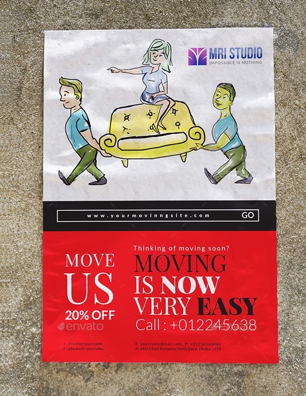 Cartoon Moving House Flyer Design