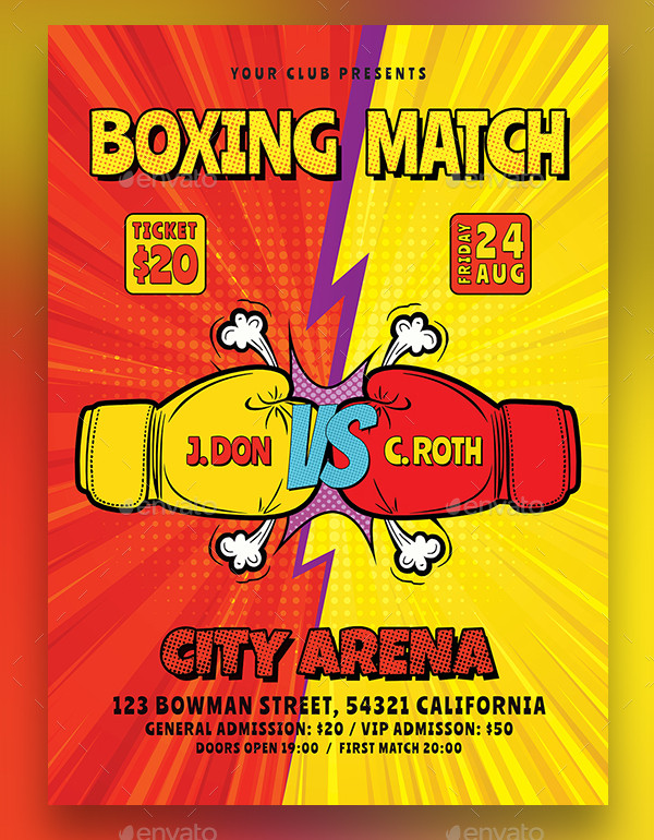 Comic Style Boxing Flyer Template