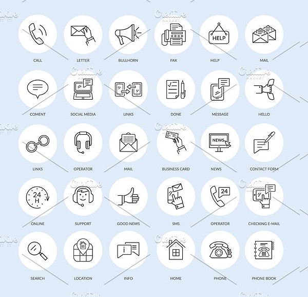Outline Icons of Contact