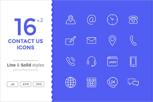 Contact Icons in 2 Styles