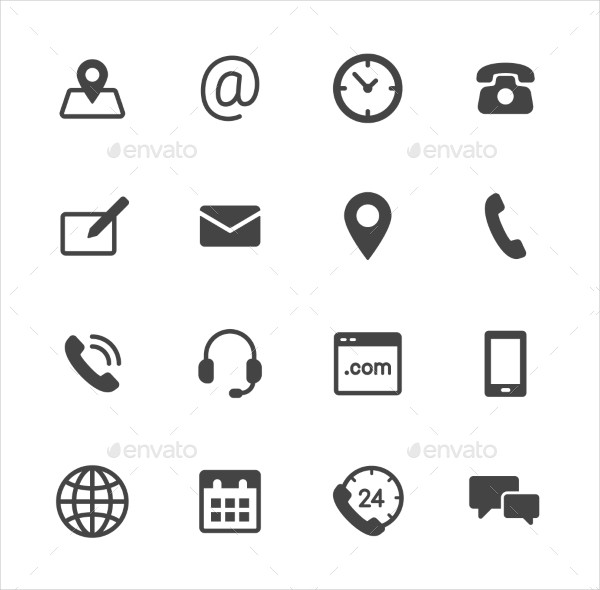Simple Flat Contact Us Vector Icons