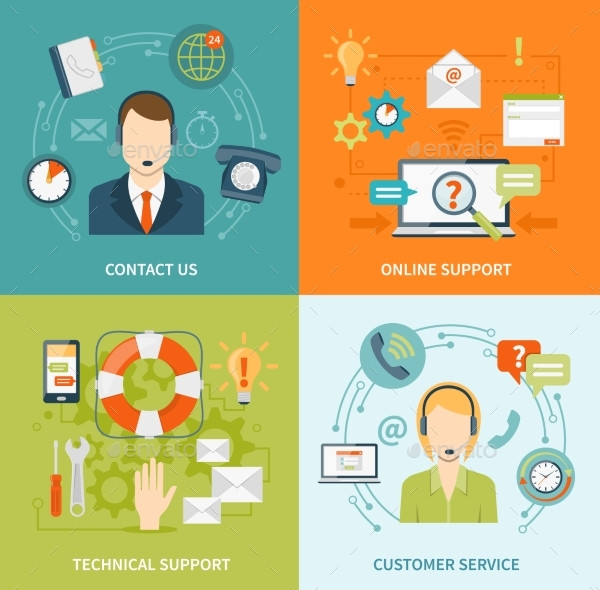 Contact Us Customer Support 2X2 Flat Icons Set