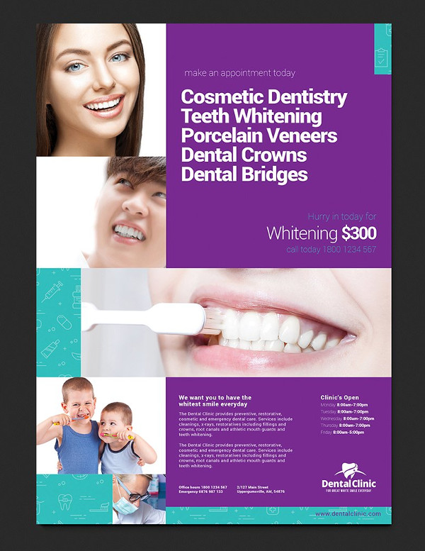 Print Dental Clinic Poster Template