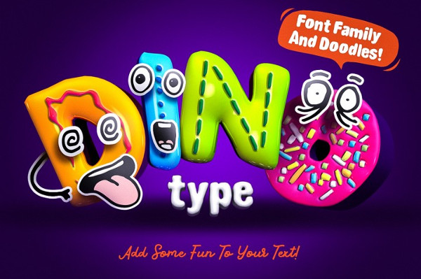 Dino Type Font Family and Doodles