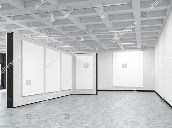 Empty Art Gallery with Blank Posters Mockup