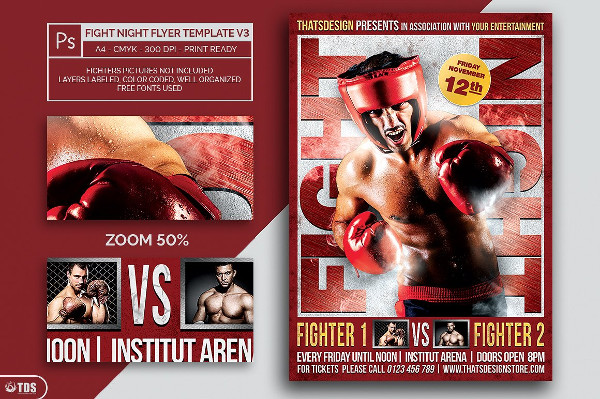 Customizable Fight Night Flyer Template