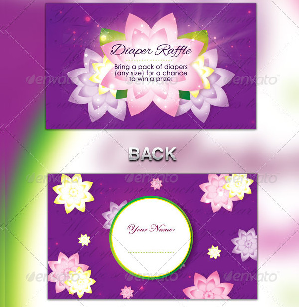 Flower Girl Baby Shower Invitation & Raffle Ticket Template