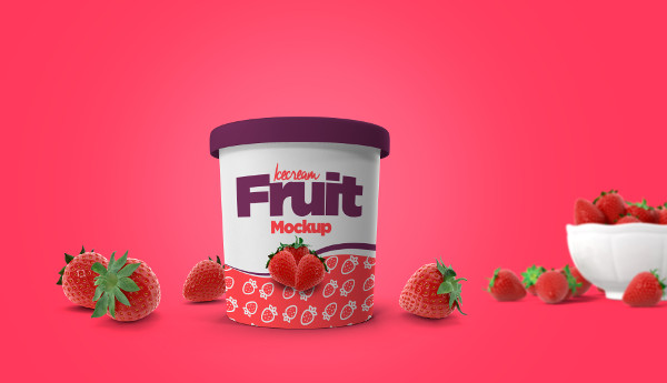 Fully Editable Ice Cream Cup Mockup
