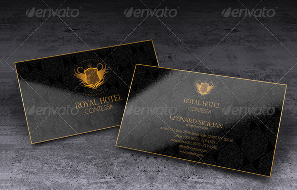 Gold Business Card Template of Royal Hotel