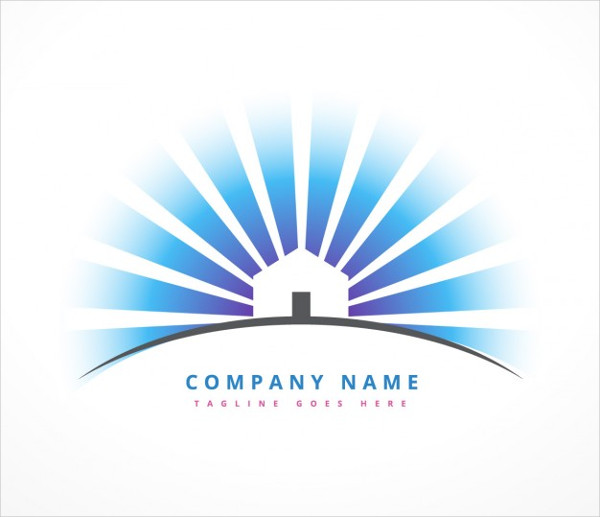 House with Sun Rays Logo Free Vector
