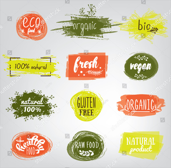 Labels with Vegetarian and Raw Food Diet Designs