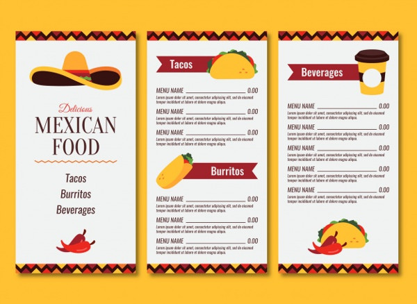Mexican Food Menu with Three Pages Free Vector
