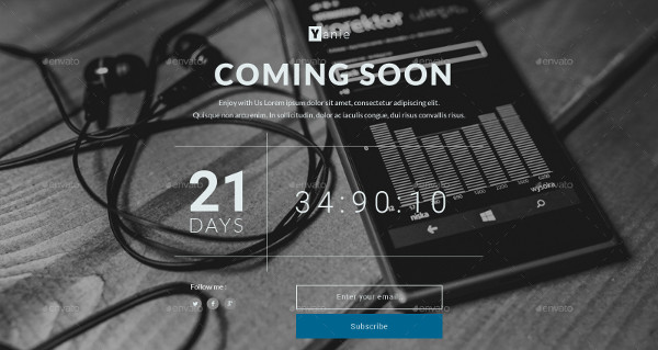 Modern Coming Soon Page Template