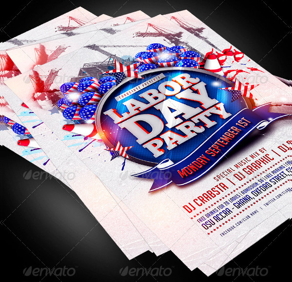 Modern Labor Day Party Flyer Template