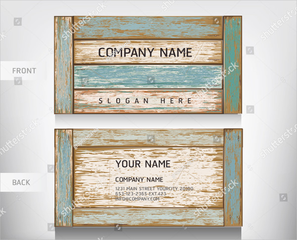 Old Wooden Texture Business Card Vector