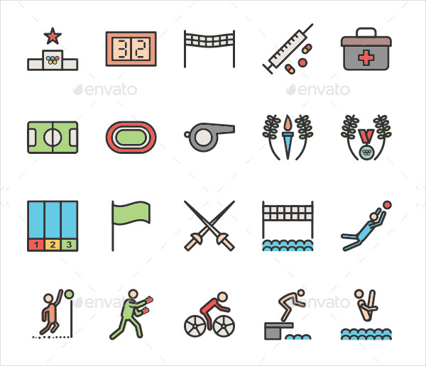 Olympics Filled Line Icons