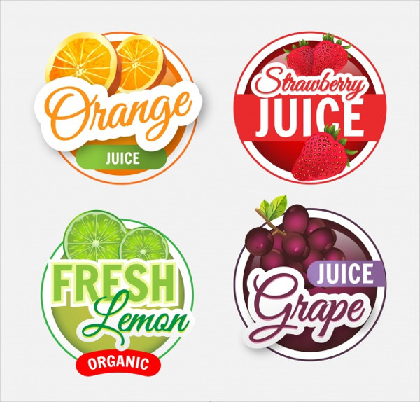 Pack of Four Realistic Fruit Juice Labels Free Vector