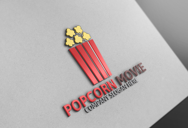 Popcorn and Movie Studio Logo Template