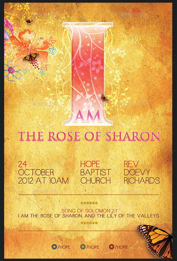 Rose of Sharon Church Poster Template