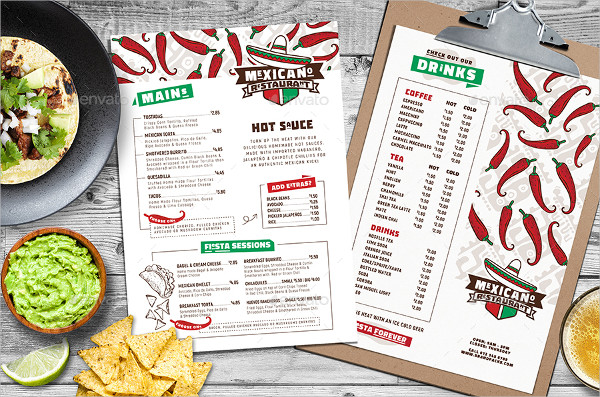 Set of Mexican Menu Templates for Photoshop