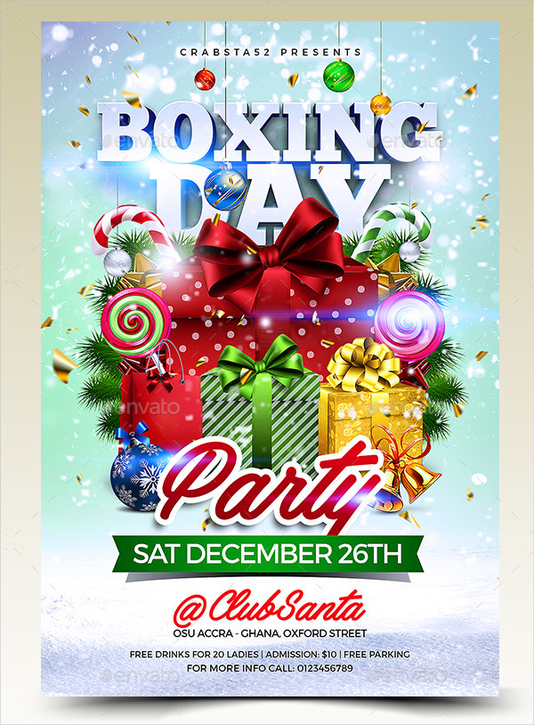 Modern Boxing Day Party Flyer Template