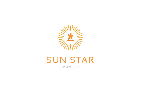 Stylish Sun Star Logo Design