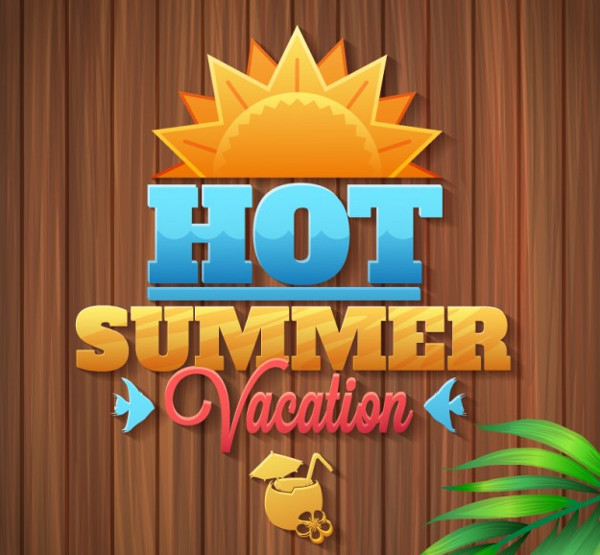 Summer Vacation Logo Free Vector