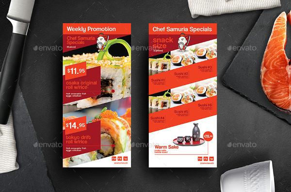 Sushi Rack Card and Menu Template