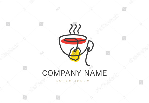 Tea Cup Logo in Flat Style Vector