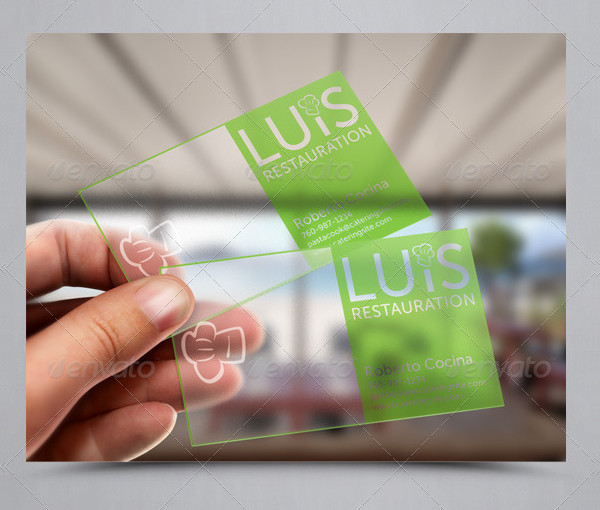 Transparent Catering Business Cards
